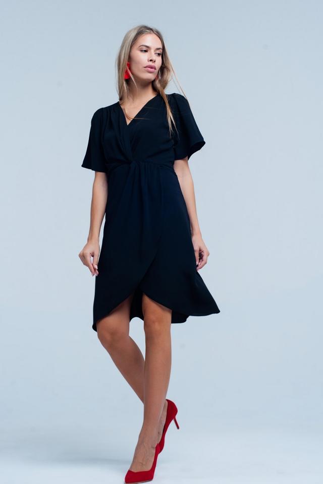 robe Noir Enveloppé midi