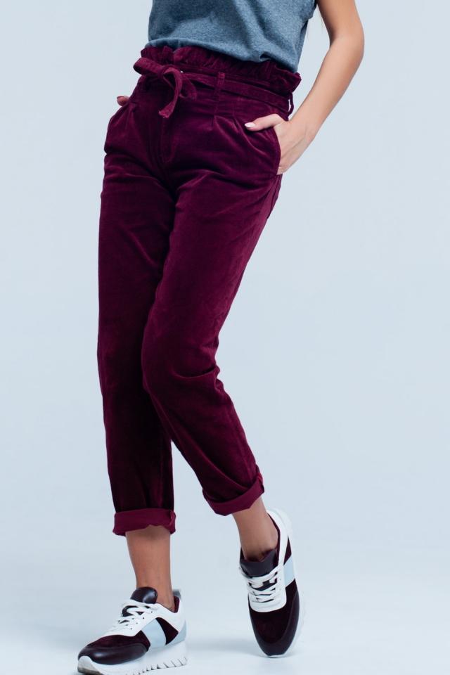 Pantalon paperbag Bordeaux taille haute avec ceinture