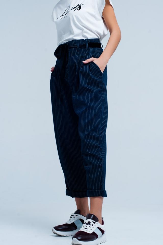 Pantalon de rayé taille haute Gris Foncé
