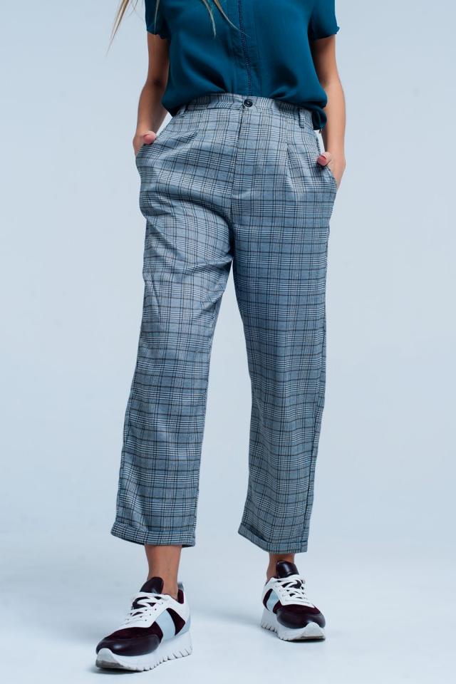 Pantalon carreaux surdimensionné Gris