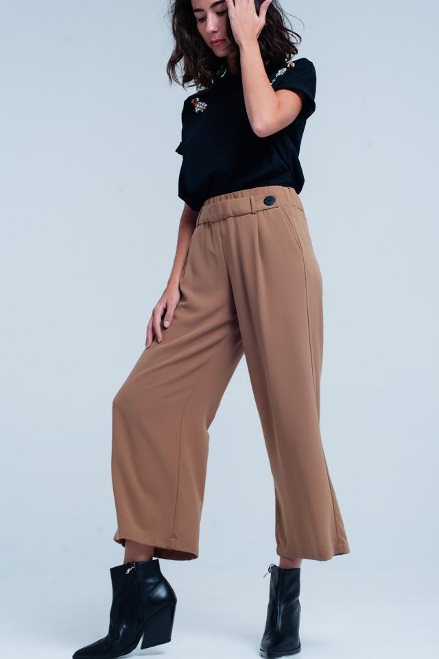 Jupe-culotte Chameau large à détail ceinture