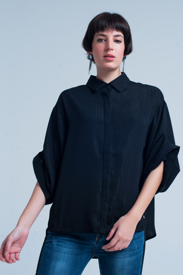 Chemise oversize noire avec détails en lurex
