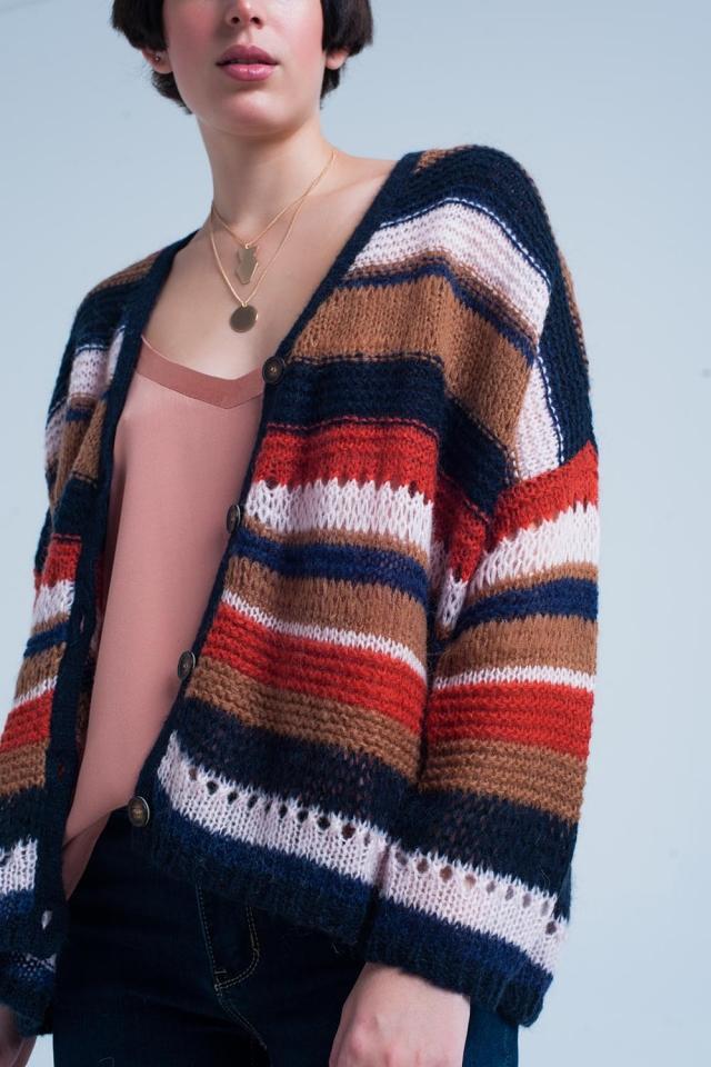 Cardigan oversize tricoté épaisse orange à rayures