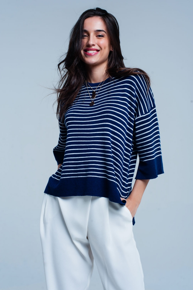 Pull oversize à rayures bleues marine