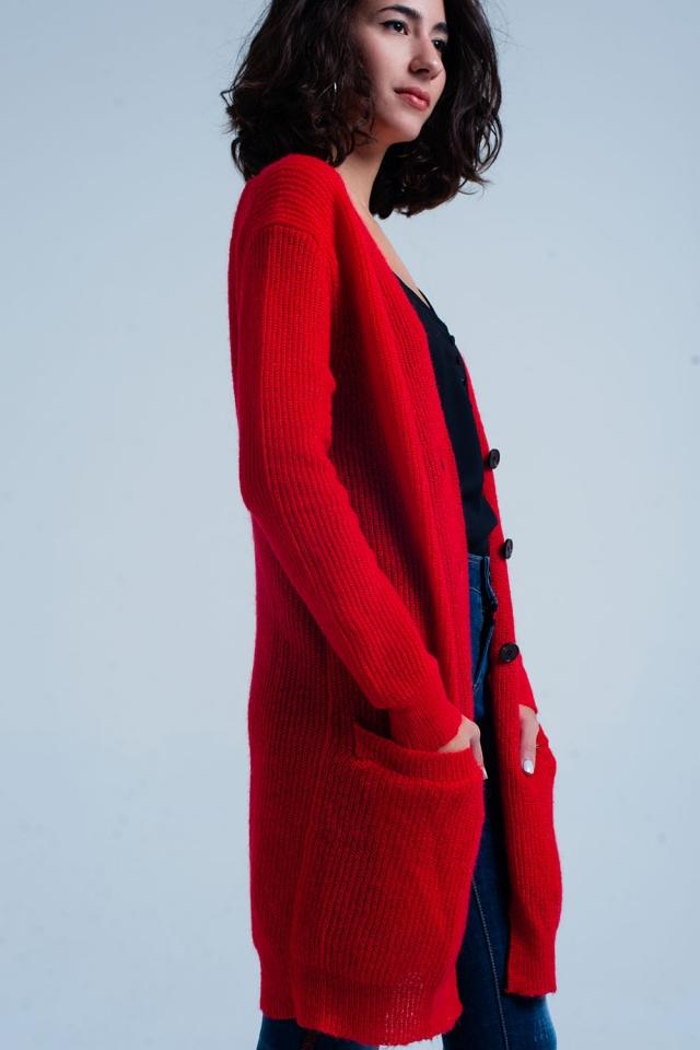 Cardigan rouge long boutonné avec poches