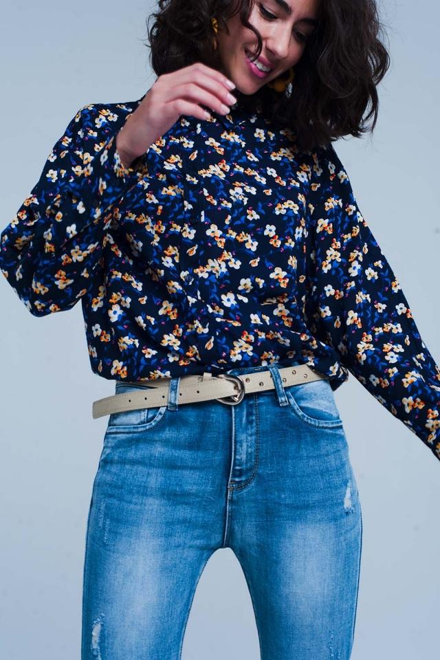 Chemise à imprimé fleuri blau à manches longues