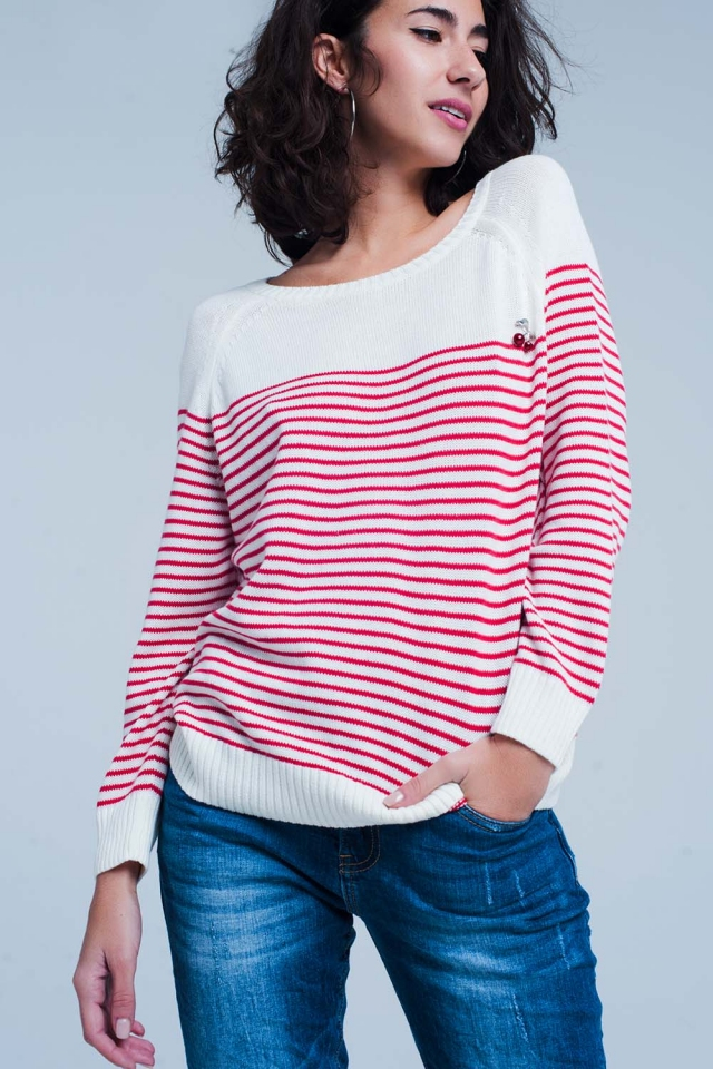 Pull a rayure Rouge en maille fine avec cherry broche