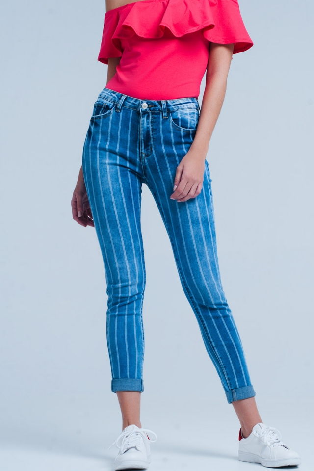 Jeans Skinny avec des rayures de lavage