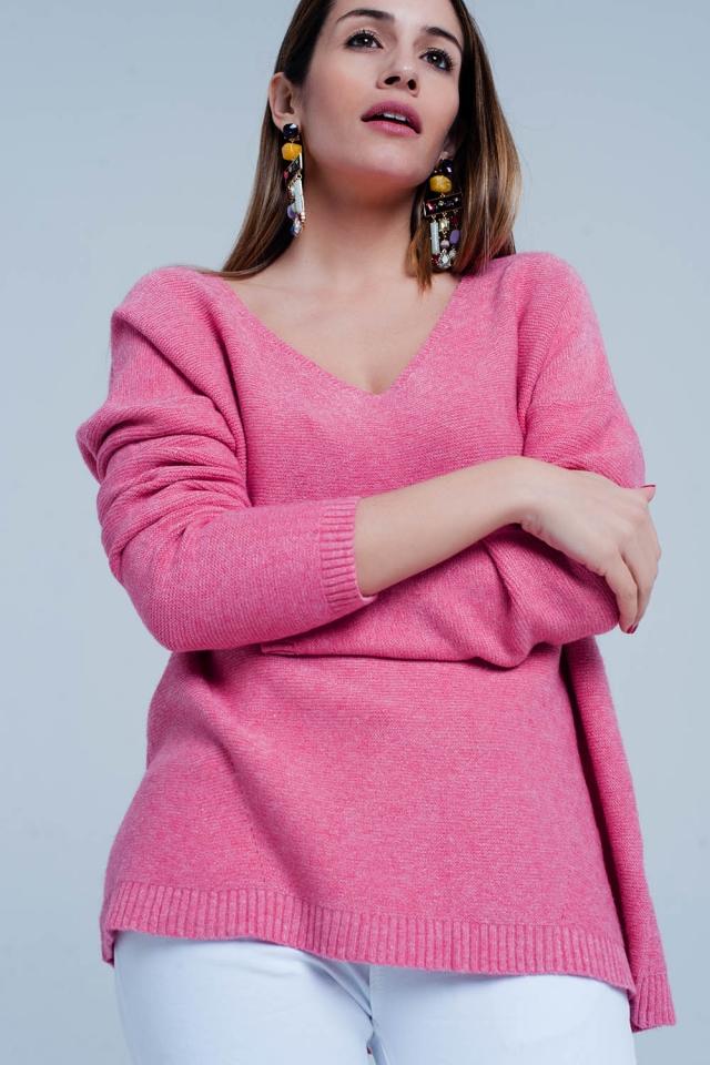 Pull doux tricoté à col en V moutarde rosa