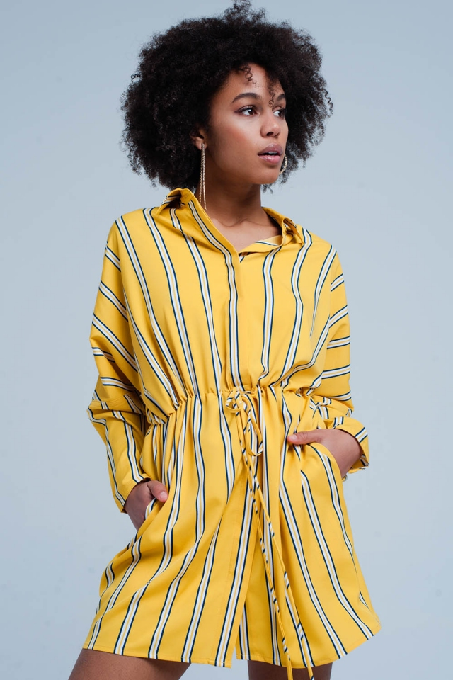 Yellow Striped Minidress with Drawstring