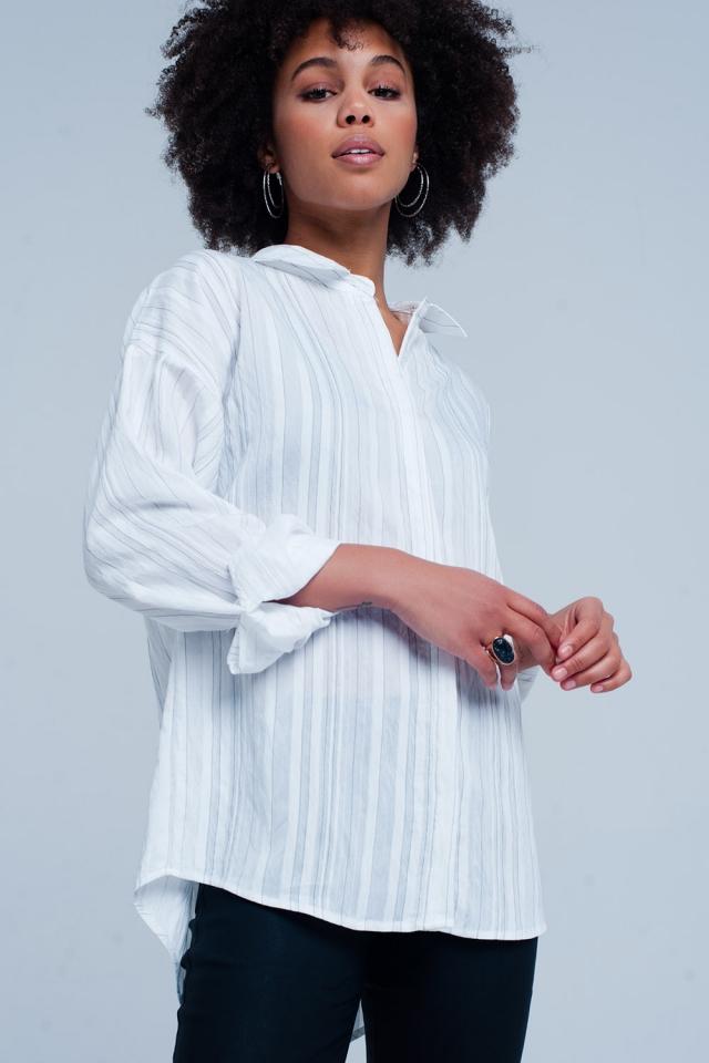 Chemise blanc oversize à rayures