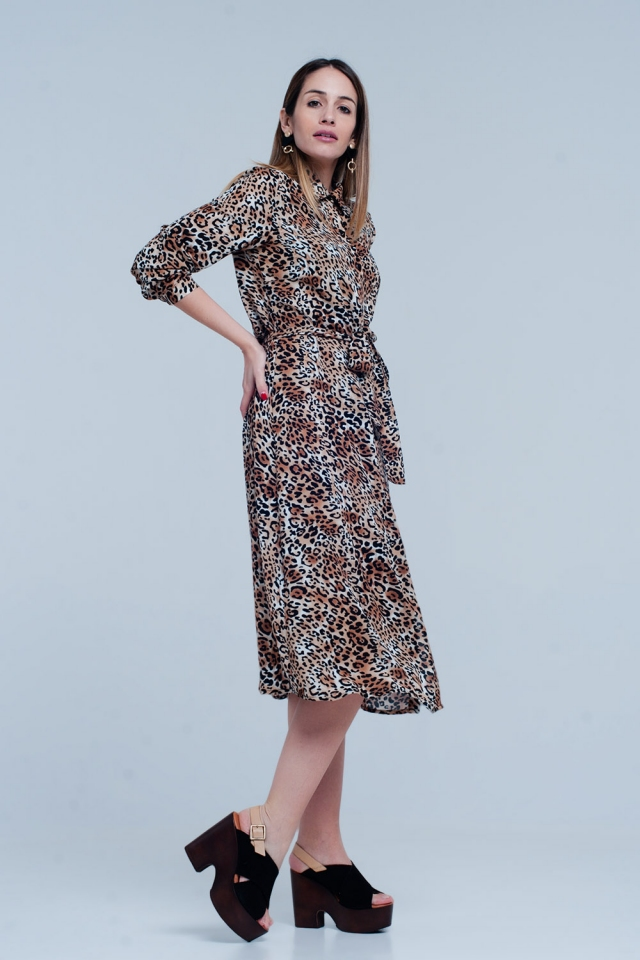 Robe midi leopard marron avec archet