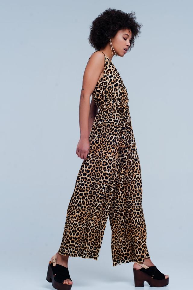 Combinaison imprimé léopard brun