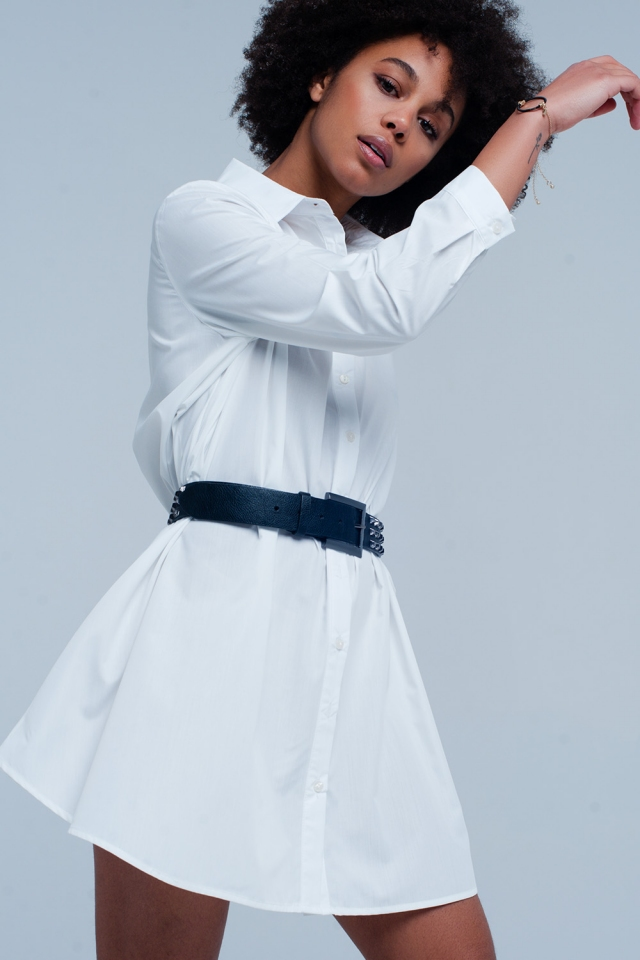 Robe chemise longue blanc popeline
