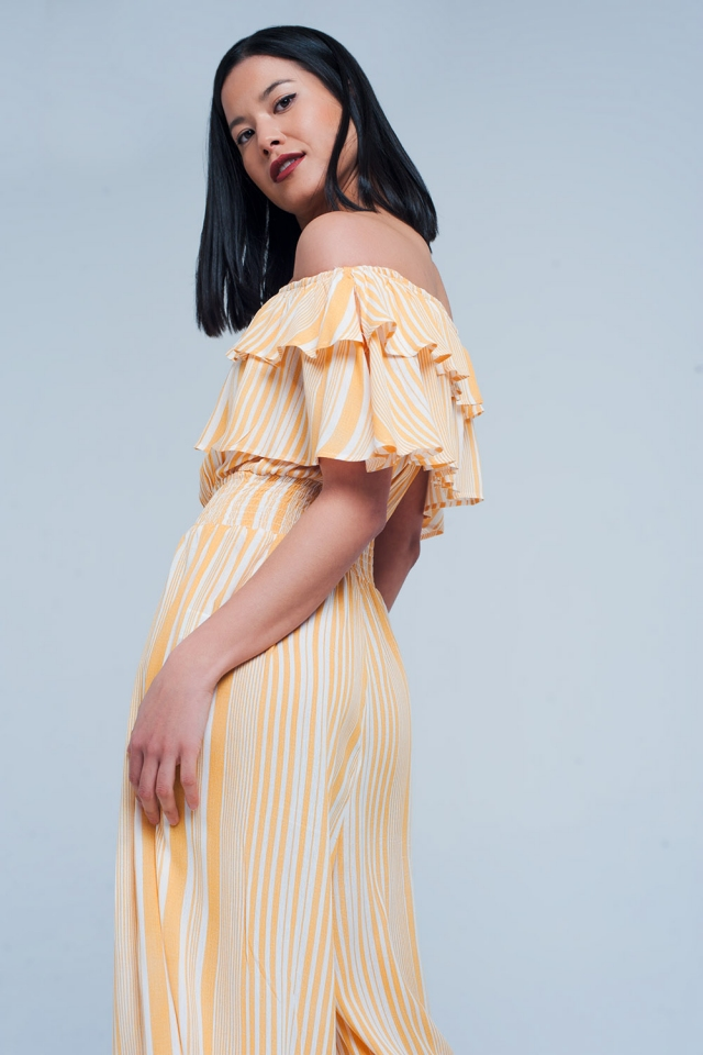 Yellow Striped Jumpsuit with Rushes