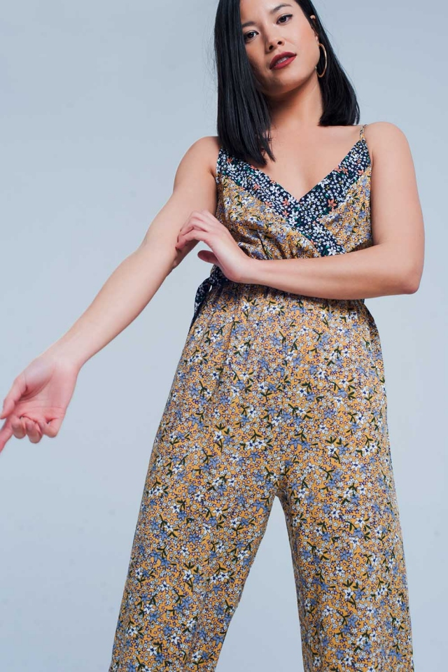 Mustard Floral Wrapped Jumpsuit