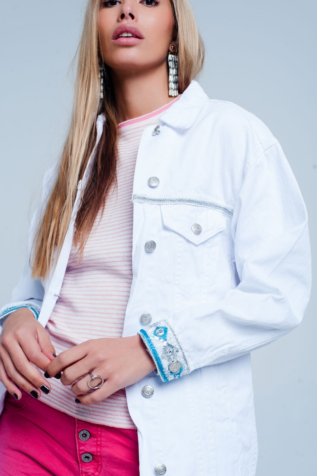 Veste Blanc coupe girlfriend avec ourlet brodé