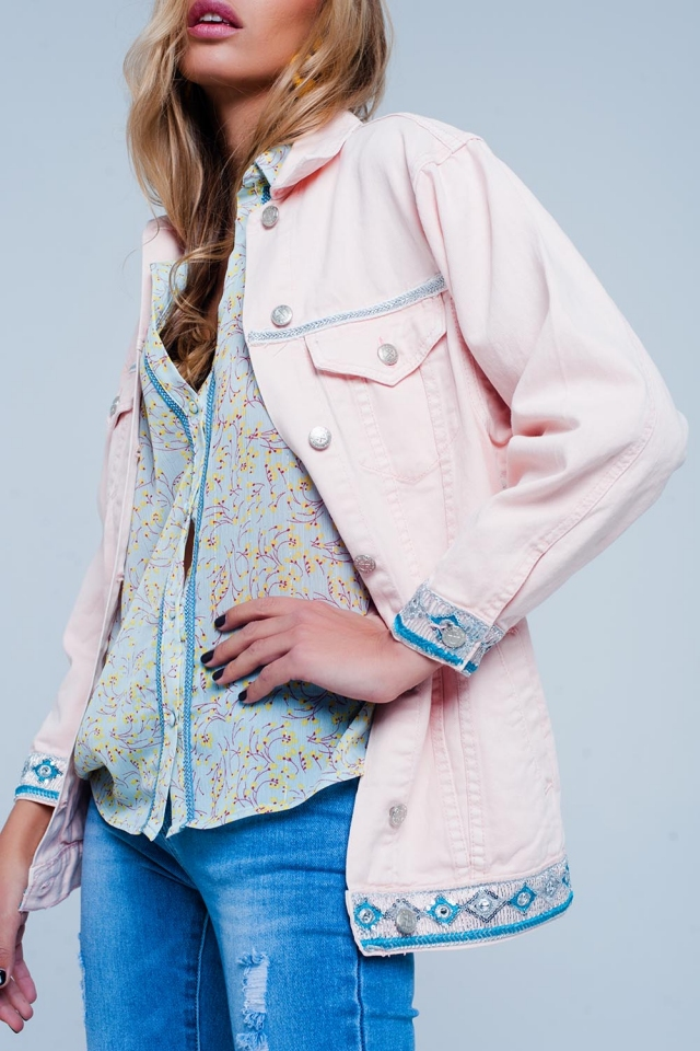 Veste Rose coupe girlfriend avec ourlet brodé