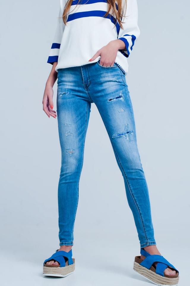Jean slim grande taille stretch effet déchiré et rapiécé - Bleu moyen
