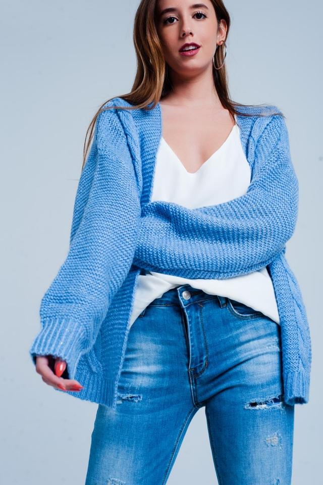 Cardigan Bleu oversize en maille torsadée
