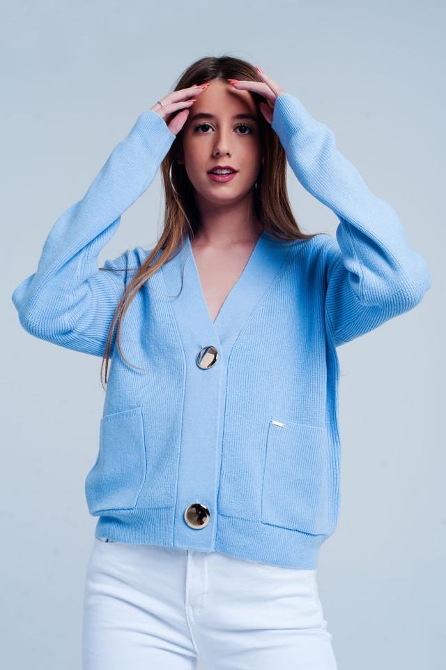 Cardigan Bleu en maille fine côtelée avec boutons