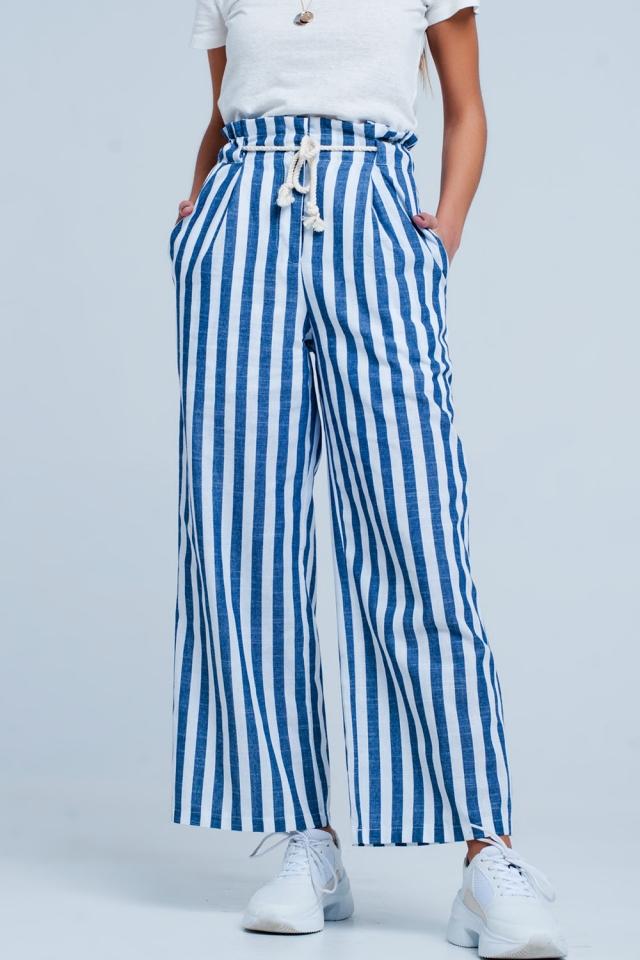 Pantalon fuselé Bleu rayé avec ceinture effet corde