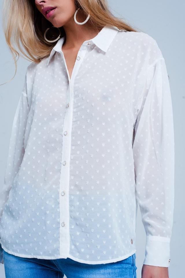Chemise transparente Blanc décontractée à pois discrets