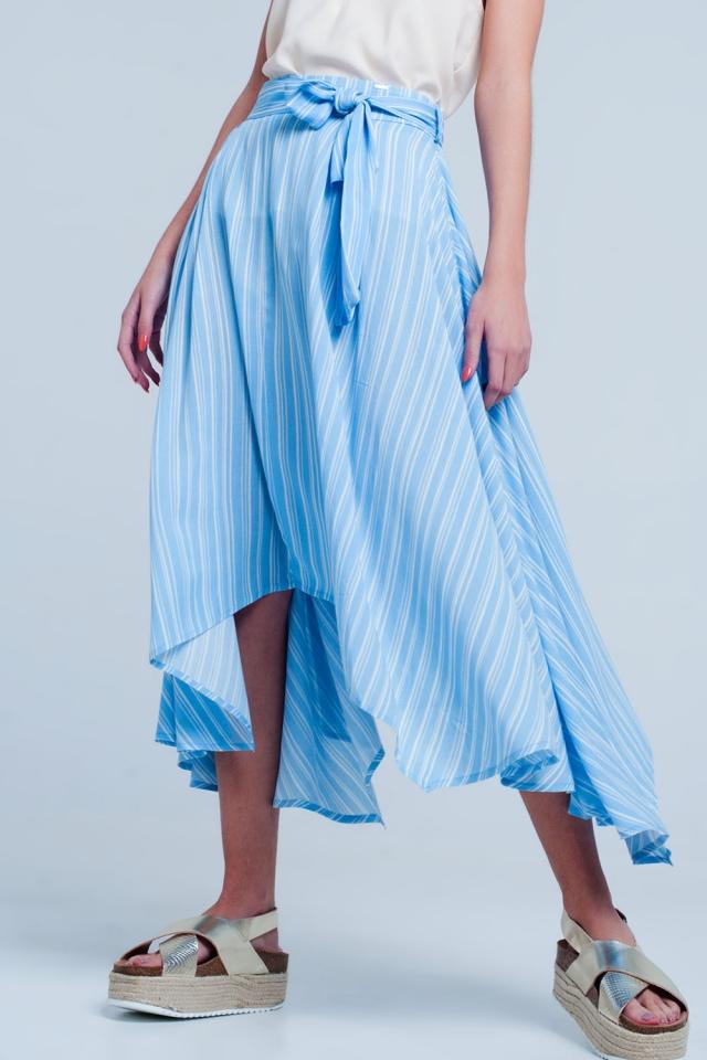 Jupe mi-longue Bleu à rayures avec lien à nouer