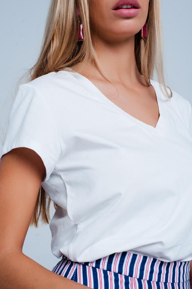 Basic T-shirt Blanc col V à manches courtes