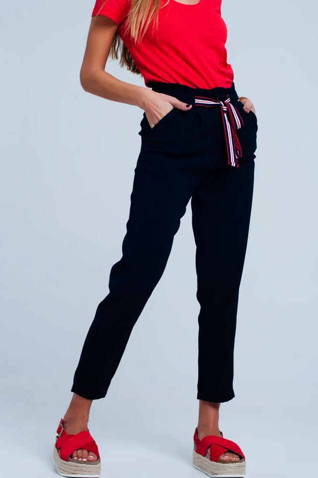 Pantalon à taille haute froncée avec liens à nouer de couleur marine