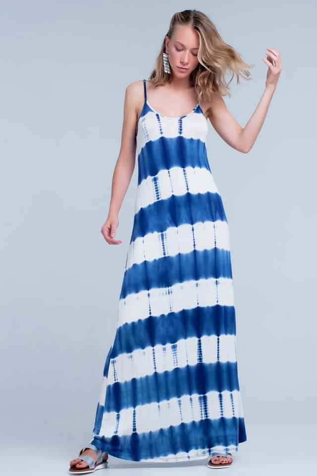 Robe longue de spaghetti avec design estampillé teints en bleu