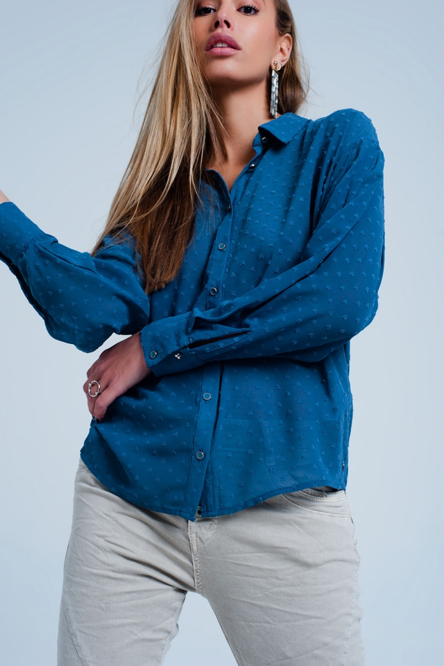 Chemise transparente couleur bleue décontractée à pois discrets