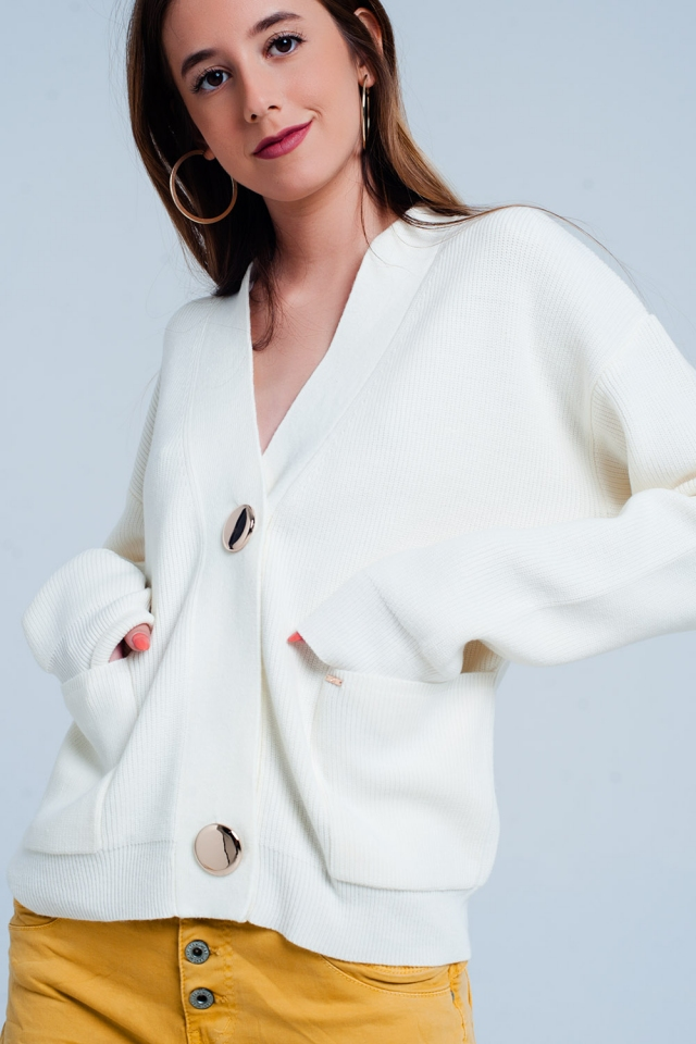 Cardigan crème de couleur en maille fine côtelée avec boutons