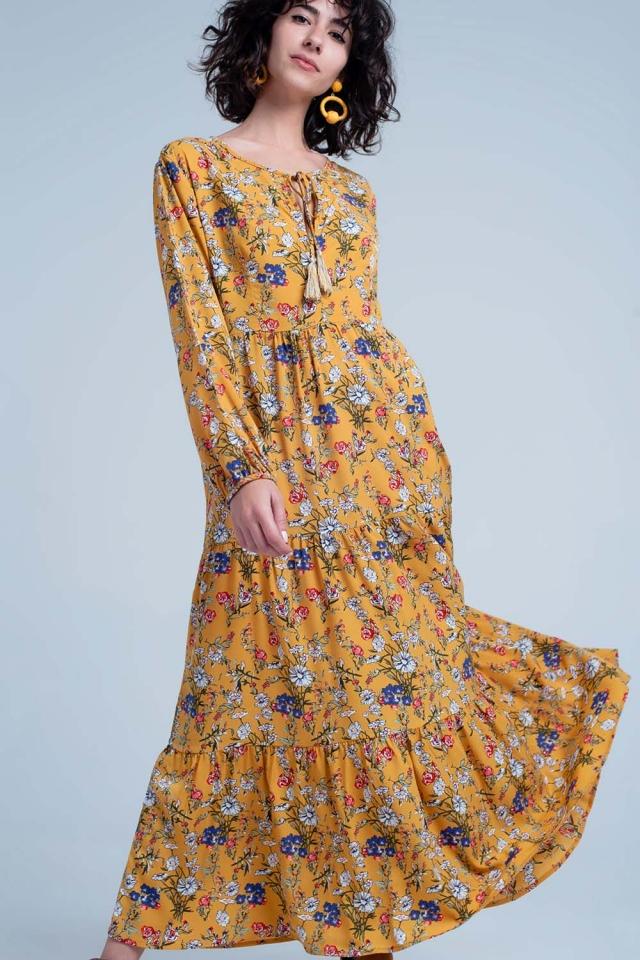 Robe babydoll Jaune mi-longue à petites fleurs avec ourlet à volants
