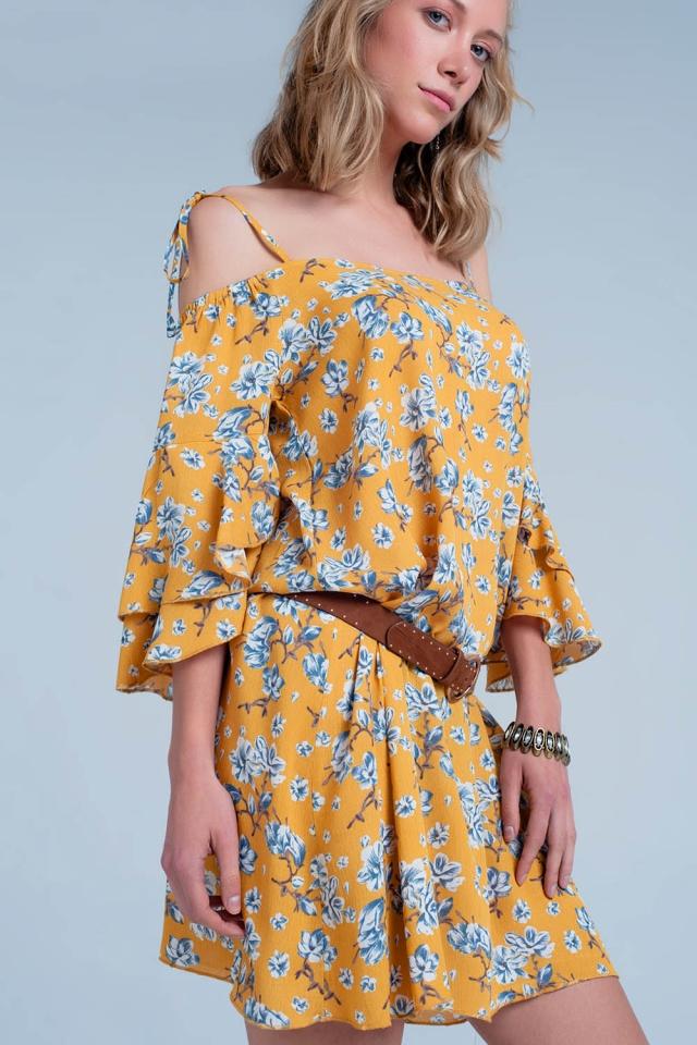 Robe Jaune à fleurs et épaules nues