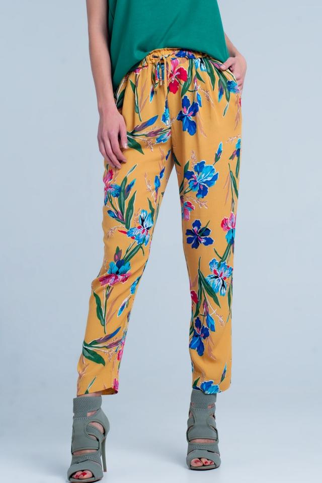 Pantalon moutarde imprimé à fleurs