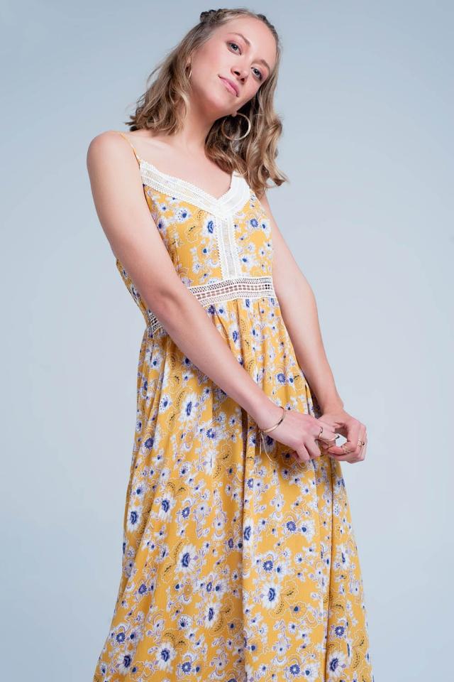 Robe longue Jaune fleurie style caraco