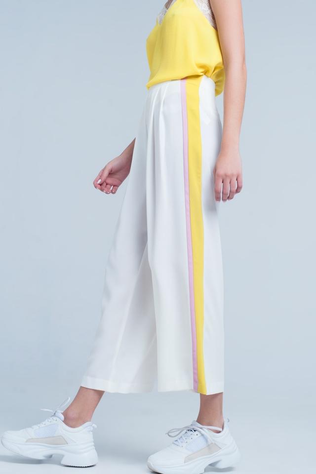 Pantalon Blanc large à bande latérale