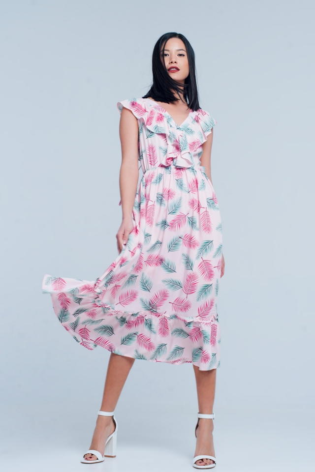 Pink Printed Midi Dress with Ruches