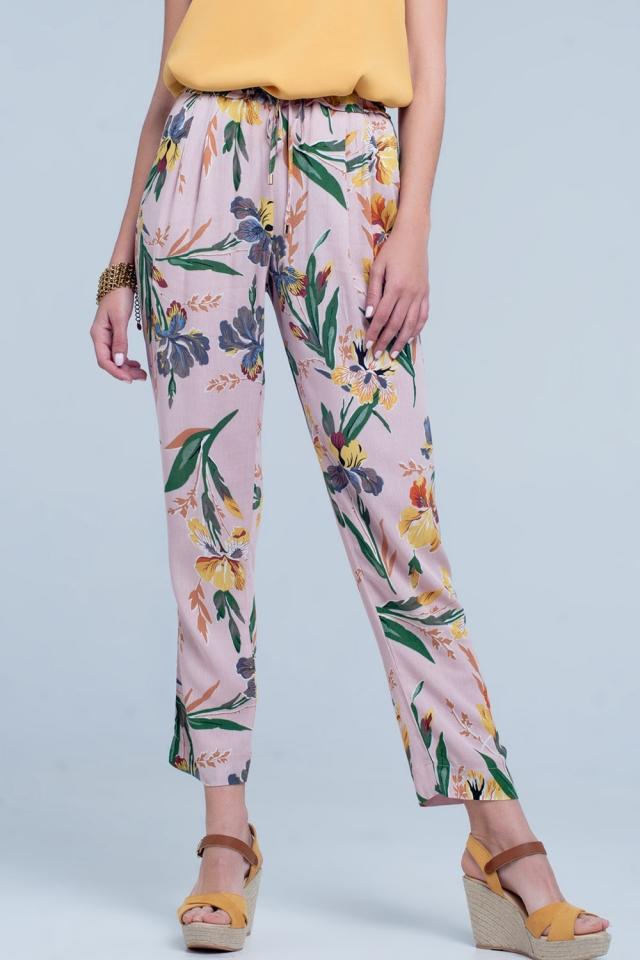 Pantalon Rose imprimé à fleurs