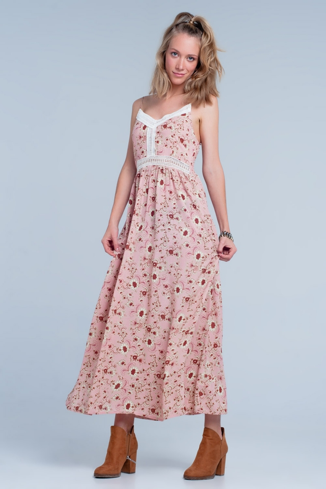 Robe longue Rose fleurie style caraco