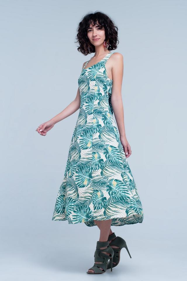 Robe Vert à imprimé tropical