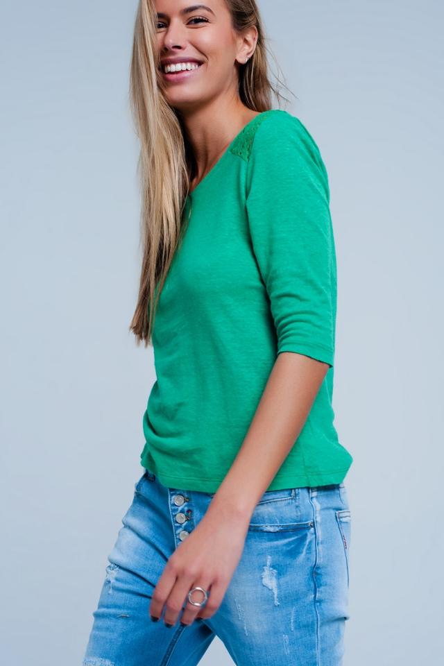 T-shirt Vert uni à manches 3/4 à empiècements au crochet
