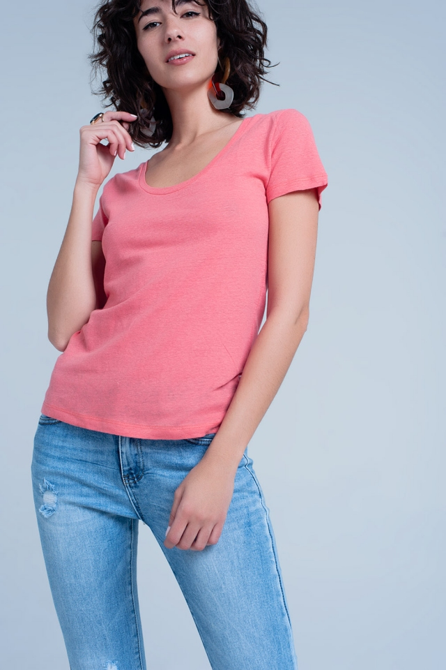 Coral t-shirt with -neck