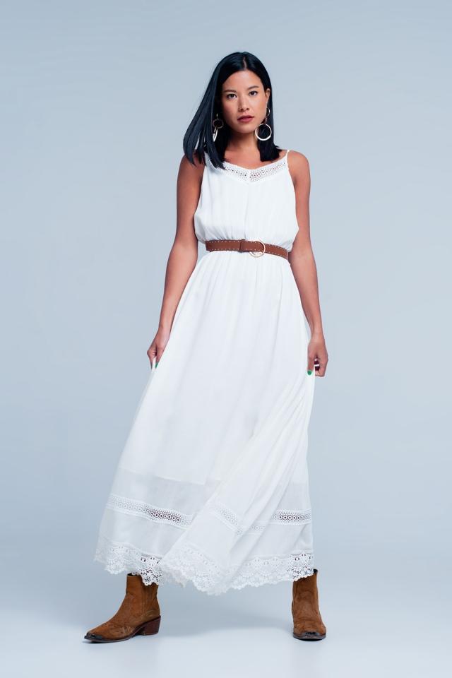 White dress with crochet trim