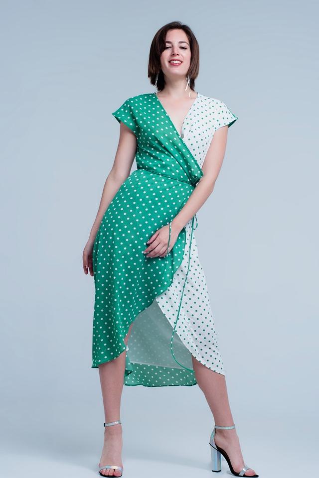 Green dress with polka dots