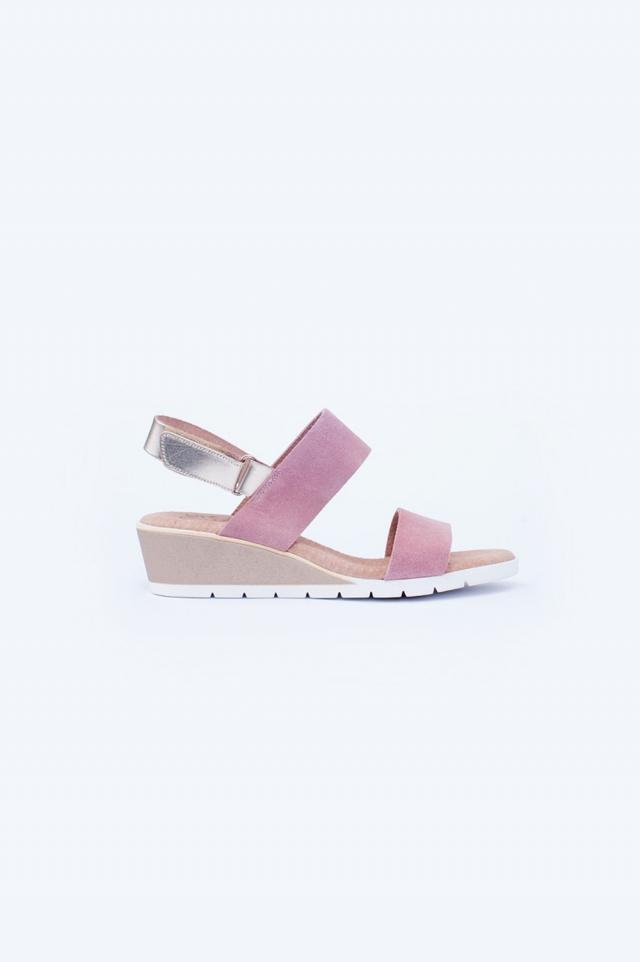 Light pink wide cut strap wedges