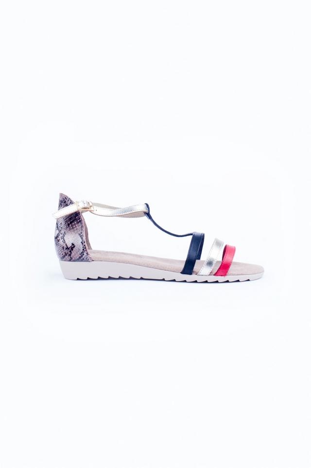 Snake print flat sandals