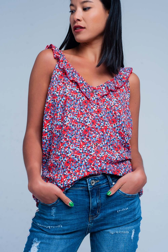 Cami top with flower print in red