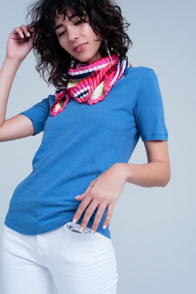 Basic T-shirt Bleu col V à manches courtes